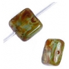 Glass Bead Squares 9mm Green Marble - Strung